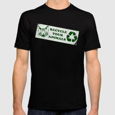 Recycle your animals - Fight club SMALL Black Mens Fitted Tee