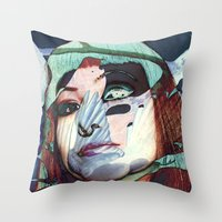 ELISA_GLITCH_IN THE SKY MIT MELANCHOLIE_ Throw Pillow