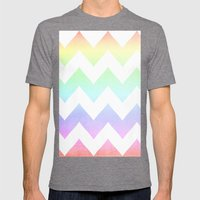 Watercolor Chevrons Mens Fitted Tee Tri-Grey SMALL