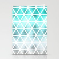 Teal blue ombre geometric triangles pattern  Stationery Cards