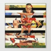 Glitch Pin-Up Redux: Lin… Canvas Print