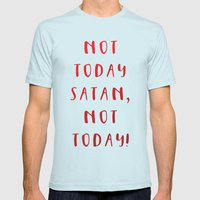 Not today, Satan, not today! Mens Fitted Tee Light Blue SMALL