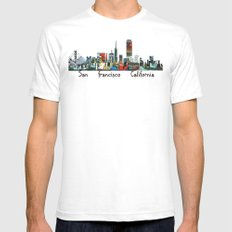 san francisco skyline comic SMALL Mens Fitted Tee White