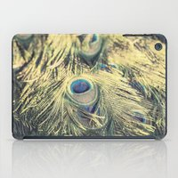 Peacock feathers photography blue green brown photography branches immortality royalty iPad Case