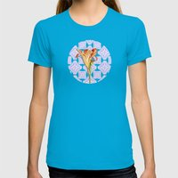 Daylily Lace Womens Fitted Tee Teal SMALL