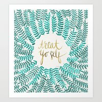typography Art Prints featuring Treat Yo Self – Gold & Turquoise by Cat Coquillette