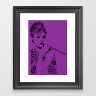Audrey Hepburn Purple Framed Art Print
