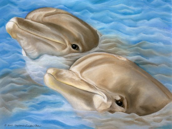 Dolphins in Pastel Art Print