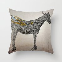 Feather Horse  Throw Pillow