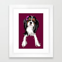 Tri-color Cavalier King … Framed Art Print