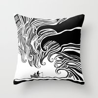 Dark Wave Throw Pillow