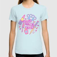 Girl Fighter Womens Fitted Tee Light Blue SMALL