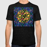 Lila's Flowers Repeat Mens Fitted Tee Tri-Black SMALL