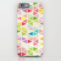 iPhone Cases featuring Textured Rainbow Triangles by Janice Austin Designs