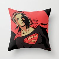 Girl Of Steel Throw Pillow