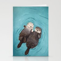 happy Stationery Cards featuring Otterly Romantic - Otters Holding Hands by When Guinea Pigs Fly
