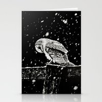 Snowfall At Night (Owl) Stationery Cards