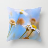 Daisies On Blue Throw Pillow