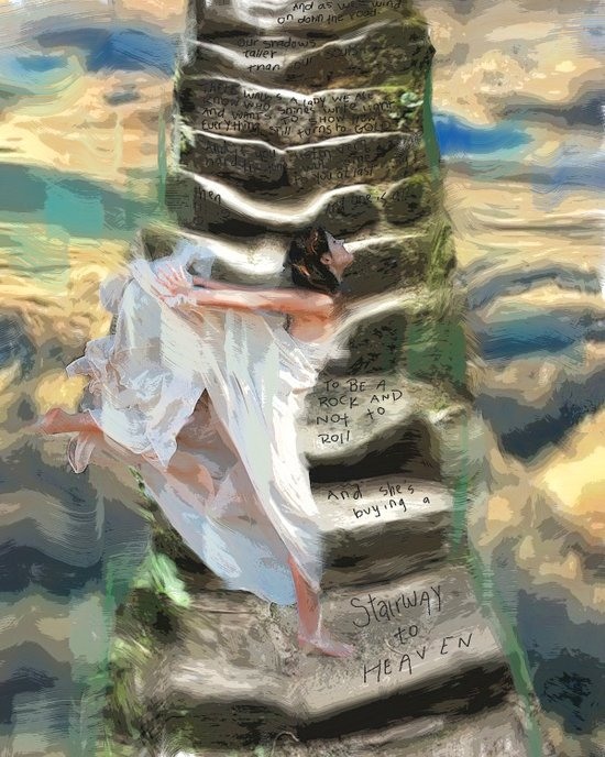 She's buying a stairway to heaven Art Print