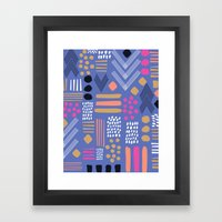 bright Tribal Geo Patchwork Framed Art Print