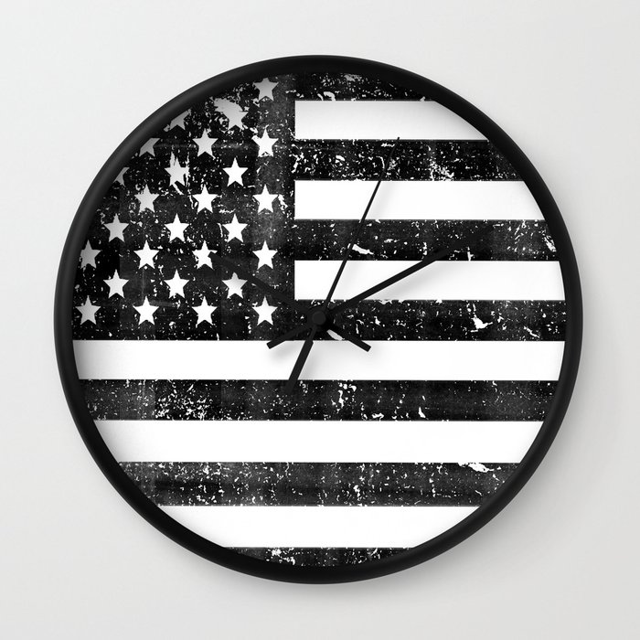 Dirty Vintage Black and White American Flag Wall Clock by ...