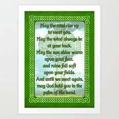 Green Irish Blessing Art Print