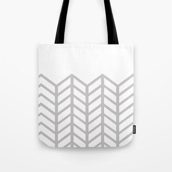 GRAY & WHITE LACE CHEVRON Tote Bag