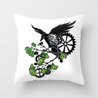 Raven And Ginkgo - Summe… Throw Pillow