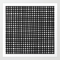 Black Gingham Art Print