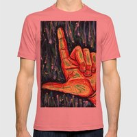 Pointing hand Mens Fitted Tee Pomegranate SMALL