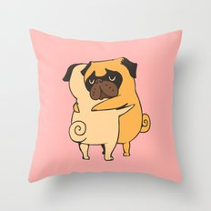 Pug Hugs Throw Pillow