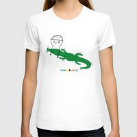 Crocodile Float Womens Fitted Tee White SMALL
