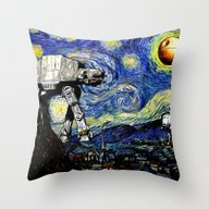 Starry Night Versus The … Throw Pillow