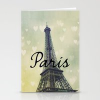 Paris Typography Eiffel Tower  Stationery Cards