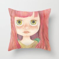 Blythe Doll Watercolor Throw Pillow