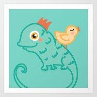 Bird & Chameleon Art Print