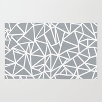 Abstract Outline Thick White on Grey Rug