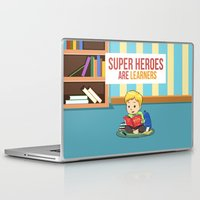 super heroes Laptop & iPad Skins featuring Super Heroes Are Learners by youngmindz