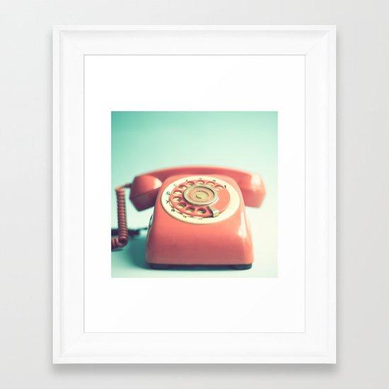 Pink Retro Telephone on Mint  Framed Art Print
