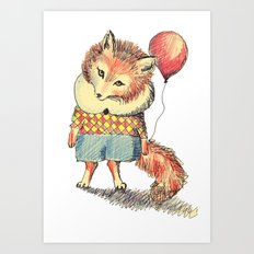 Balloon Fox Art Print