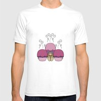 Cute Monster With Pink And Purple Frosted Cupcakes Mens Fitted Tee White SMALL