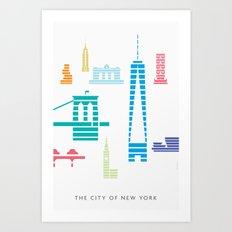 New York Skyline WTC Poster Color Art Print