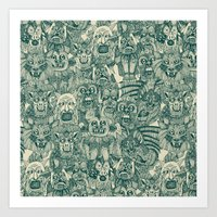 gargoyles teal Art Print