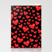 Hearts Motif Black Stationery Cards