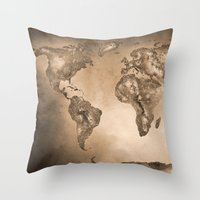 Stars world map. Sepia Throw Pillow