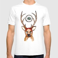 All-seeing Deer Mens Fitted Tee White SMALL