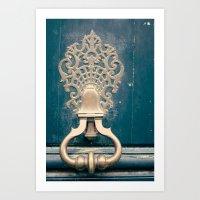 Paris details, Navy blue door Art Print