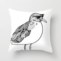 Cool Seagull Throw Pillow