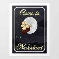 Disney's Peter Pan Neverland Travel Poster Art Print