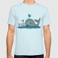 Whale Mom and Baby with Hearts Mens Fitted Tee Light Blue SMALL